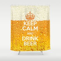 beer Shower Curtains featuring Beer by Text Guy
