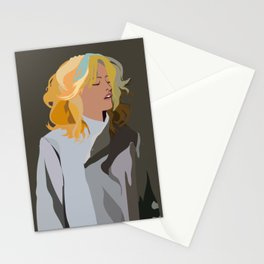 Woman with Colorful Hair in Trench Coat Stationery Cards