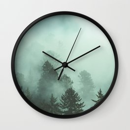 Magnificent Morning - Foggy Redwood Forest Nature Photography Wall Clock