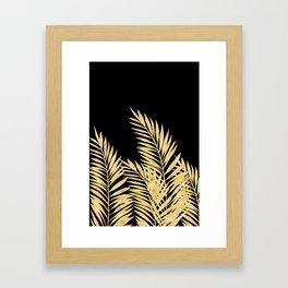 Palm Leaves Golden On Black Framed Art Print