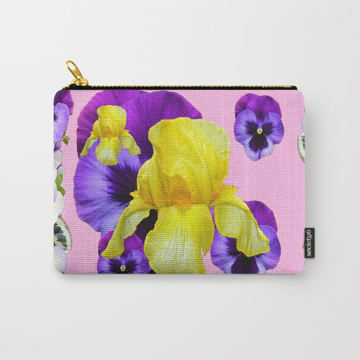 PINK COLOR PURPLE & WHITE PANSIES YELLOW IRIS Carry-All Pouch