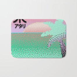 Vaporwave Sunset Pixel Art Bath Mat