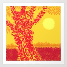 Red Tree, Hot Yellow Sun Art Print