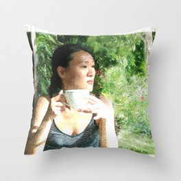 Watercolor of a Serene Beauty with a Cup of Tea in the Rainforest Throw Pillow