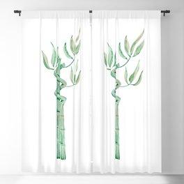 Green bamboo watercolor Blackout Curtain