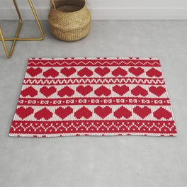 Fair Isle Valentines Day - Red Rug