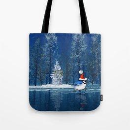 Christmas Blue Bird On Ice Tote Bag