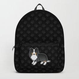 Tricolor Shetland Sheepdog Dog Cartoon Illustration Backpack