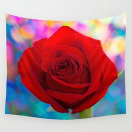 Red Rose and Rainbow Bokeh Wall Tapestry