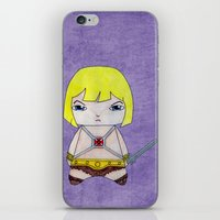 he man iPhone & iPod Skins featuring A Boy - He-Man by Christophe Chiozzi