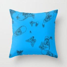 Blue Skulls and Butterflies Throw Pillow