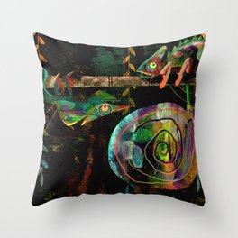 Colorful Chameleons Throw Pillow