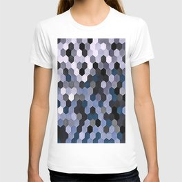 Honeycomb Pattern In Gray and Blue Wintry Colors T-shirt