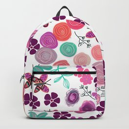 Colorful Spring Flowers. Floral Pattern Backpack