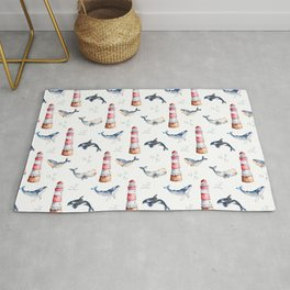 Sea Voyage Whales and Lighthouses Pattern Rug