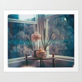 Amaryllis with hyacinth and meyer lemons Art Print