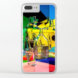 Abstract collage with vases and glass bottles Clear iPhone Case