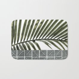 Palm Leaves on White Wall and Ceramic Tiles Bath Mat