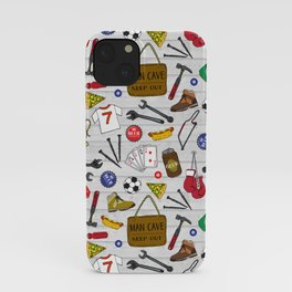 Man Cave Beer Den Tool Shed Pattern iPhone Case