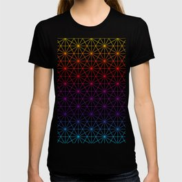 Sacred Geometry Pattern Grid - colorful rainbow T-shirt