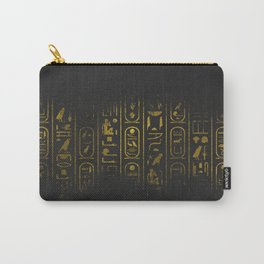 Grunge Egyptian Gold hieroglyphs on black paper Carry-All Pouch