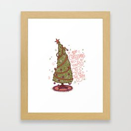 Cat Christmas Graphic Framed Art Print