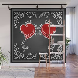 Gothic Hearts Sketch Wall Mural