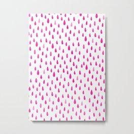 Pink, Drops, Cute, Kids, Nursery, Minimal, Pattern, Modern art Metal Print