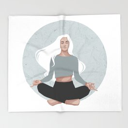 Yoga girl blue I Throw Blanket