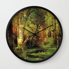 Forest Scene 1870 By Thomas Moran | Dense Woods Watercolor Reproduction Wall Clock