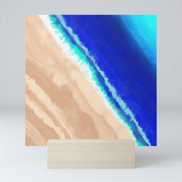 Artsy Modern Blue Teal Sandy Beach Watercolor Mini Art Print