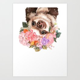 Baby Sloth with Flowers Crown in White Art Print