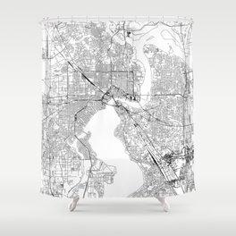 Jacksonville White Map Shower Curtain