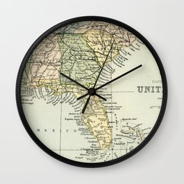 Vintage Map of the South Of The United States Of America Wall Clock