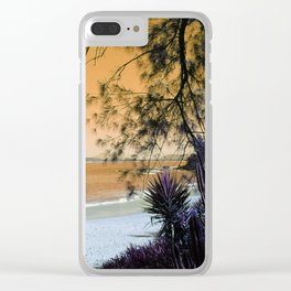 Tropical Beach in with Cacti in Orange Clear iPhone Case