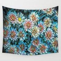 van gogh Wall Tapestries featuring Van Gogh Blue Chrysanthemum by naturessol