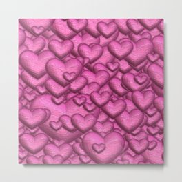 Shimmering hearts pink Metal Print