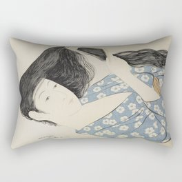 Hashiguchi Goyo: Woman Combing Her Hair Japanese Woodblock Print Blue Floral Kimono Black Hair Rectangular Pillow