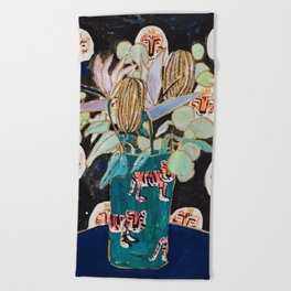 Dark Floral Still Life with Banksia Pods and Tigers Beach Towel