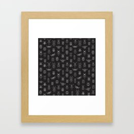 Insects Pattern (Black) Framed Art Print