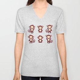 Set of funny brown monkey boys and girls on white background. Vector illustration Unisex V-Neck