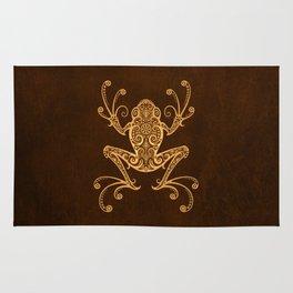 Intricate Golden Brown Tree Frog Rug
