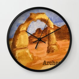Delicate Arch Watercolor, Arches National Park Wall Clock