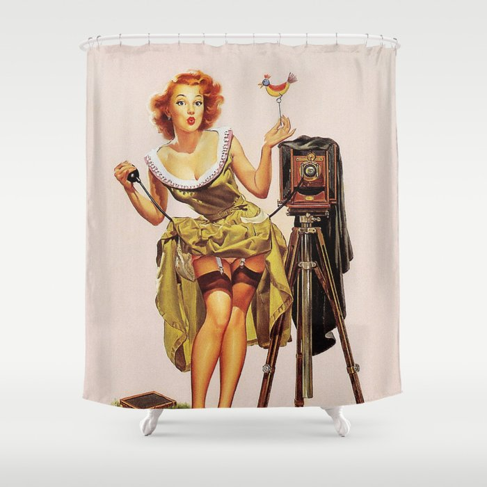 Pin Up Girl And Camera Shower Curtain