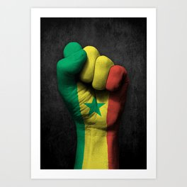 Senegal Flag on a Raised Clenched Fist Art Print