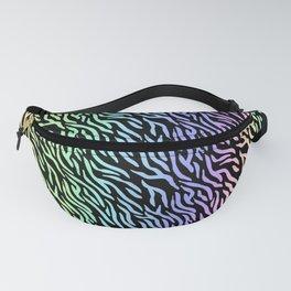 Pastel Rainbow Zebra Stripes (Black Background) Fanny Pack