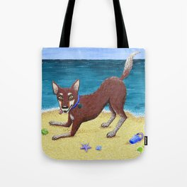 Red Dog Playing Tote Bag