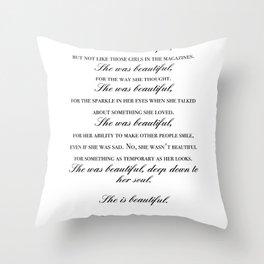 she was beautiful Throw Pillow