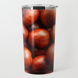 Glossy red conkers in autumn Travel Mug