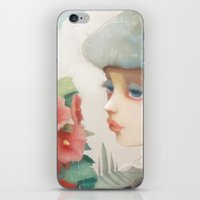 et iPhone & iPod Skins featuring Pensees et roses tremieres by Ludovic Jacqz